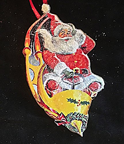 Santa Rocket Ornament Handcrafted Wood Christmas, 1950s Decoration, Mid-Century Modern, Comic Book Image, Grab Bag Gift Rocket Ship Hat Ask a question -