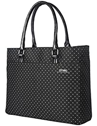 Laptop Tote Bag, DTBG 15.6 Inch Women Shoulder Bag Nylon Briefcase Casual Handbag Laptop Case For 15 - 15.6 Inch Tablet / Ultra-book / Macbook / Chromebook (Black+White Dot)