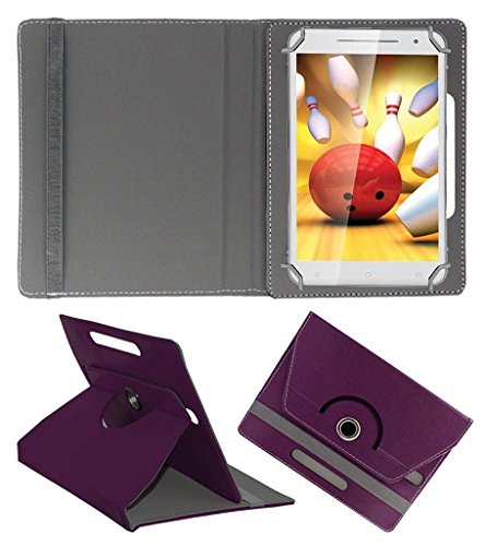 Acm Rotating Flip Case Compatible with Iball Slide Cuddle A4 Tablet Stand Cover Holder Purple