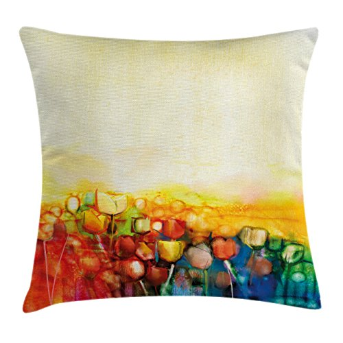 Watercolor Flower Home Decor Throw Pillow Cushion Cover by Ambesonne, Tulips Mother Earth Universe Dutch Ottoman Heritage Vivid Paint, Decorative Square Accent Pillow Case, 20 X 20 Inches, Multi