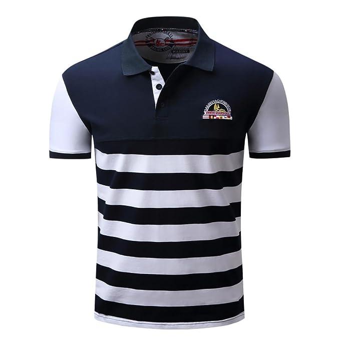 Hombre Raya Informal botón Empalme Pullover Manga Corta Camiseta Blusa Superior