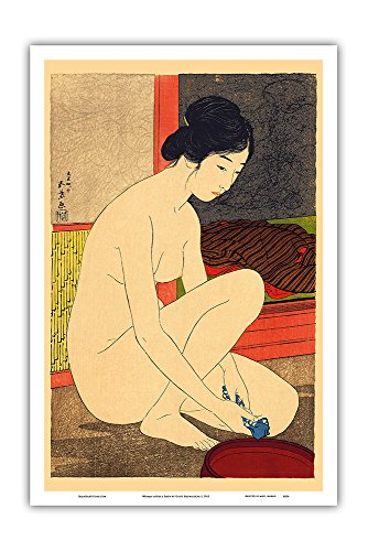 (Woman After a Bath - Vintage Japanese Woodblock Print by Goy_ Hashiguchi c.1915 - Master Art Print - 12in x 18in)