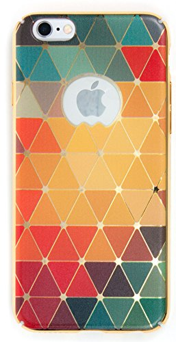 IPhone 6/6S Case, YogaCase MetalLuxe Luxury Design Metal iPhone Cover (Rainbow Triangles)