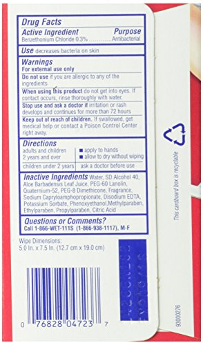 Wet Ones Antibacterial Hand and Face Wipes Singles, 24-Count (Pack of 5)