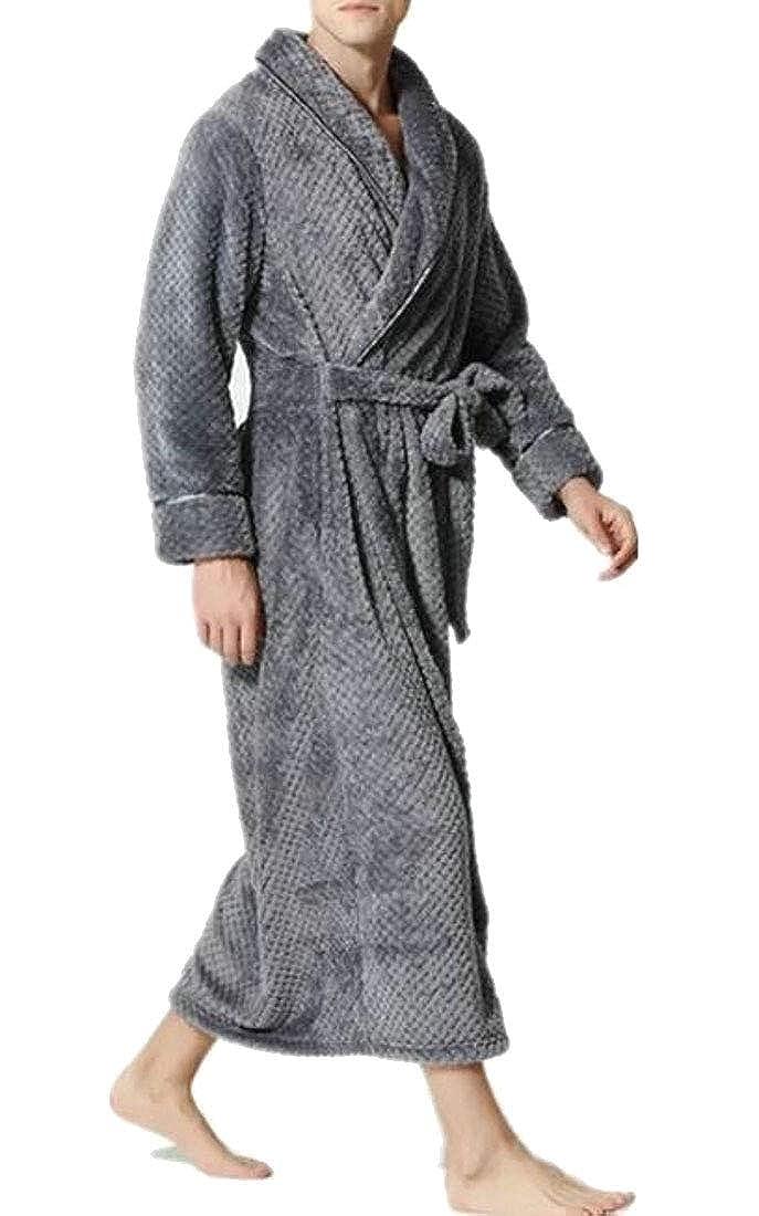 WSPLYSPJY Mens Flannel Bathrobe Turkish Plain Kimono Robe
