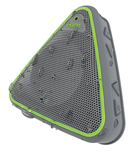 iHome IBT3GQC Splashproof Wireless Speaker with Speakerphone - Gray/Green