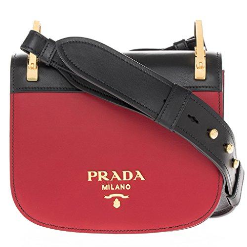 Prada Women's 'Pionniere' Bi-Color Embellished Metal Stud Strap Bag Red + Black