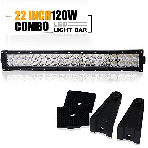 TURBOSII 20/22 In 120W Led Light Bar Spot Flood Combo Beam Offroad Driving Lights Grille Front Bumper For F150 Golf Cart Jeep Truck Yamaha Rhino Atv 4 Wheeler Duck Boat Zero Turn Mower Rzr 12-24V (04 Gmc Grille Yukon 03)