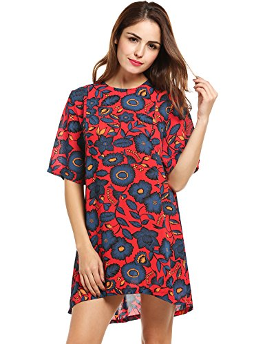 Zeagoo Women's Casual Short Sleeve Floral Print Shift (Floral Swirl Print Dress)