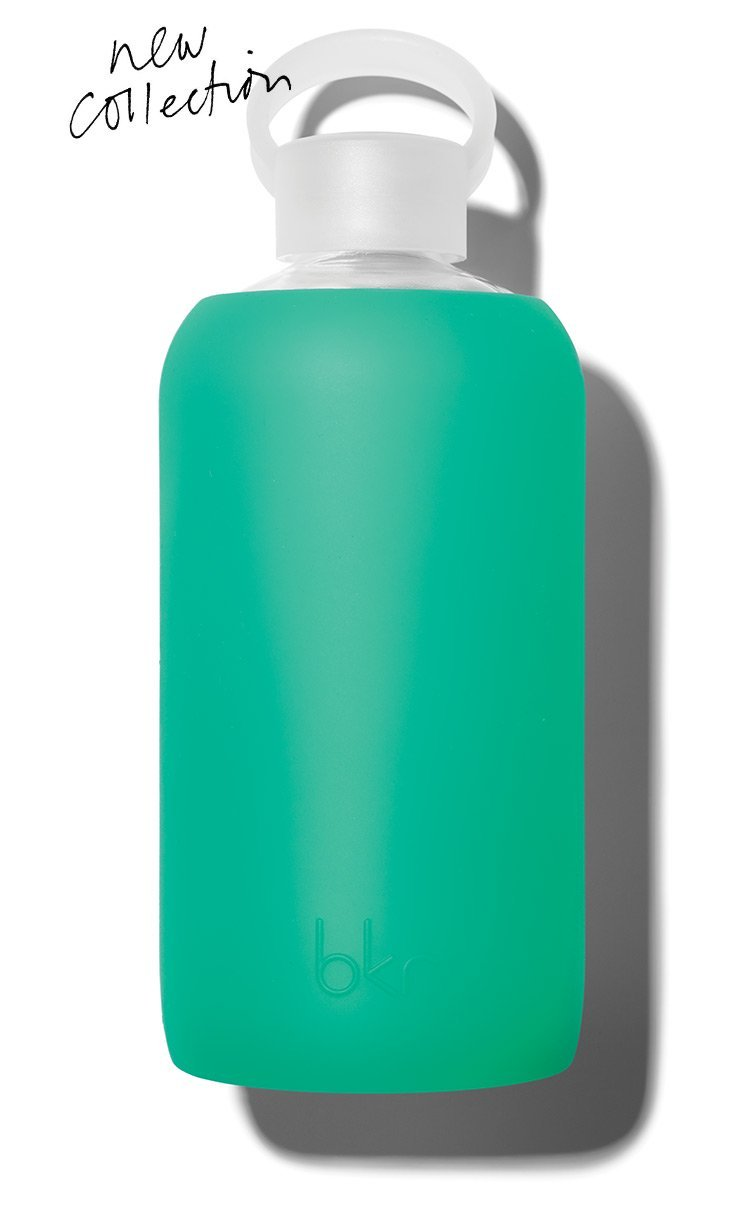 bkr Gramercy Water Bottle with Smooth Silicone Sleeve for Travel, Narrow Mouth, BPA-Free & Dishwasher Safe, Sheer Lush Garden Green, 32 oz / 1 Liter