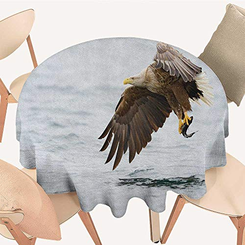 longbuyer Eagle Circular Table Cover Bird with Feathers on Head and Tail Catching a Fish Hunting Animal Food Chain Round Tablecloth D 54