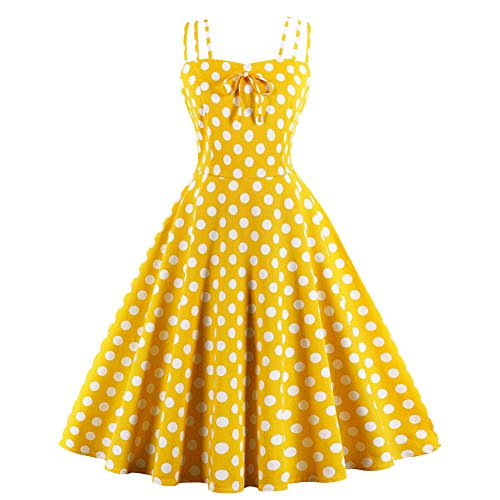 FTVOGUE Women Yellow Polka Dot Bowknot Sleeveless Elegant Cocktail Swing Dress(S)