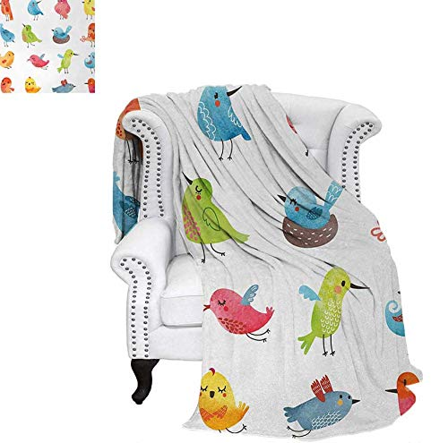 - Warm Microfiber All Season Blanket for Bed or Couch Colorful Cute Birds Watercolor Effect Humor Funny Mascots Paint Brush Art Kids Design Throw Blanket 80