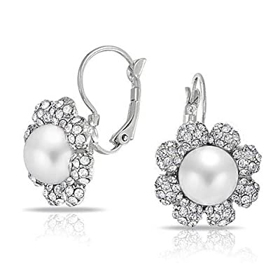Mothers Day Gifts Simulated Pearl Crystal Flower Bridal Wedding Leverback Earrings Rhodium Plated