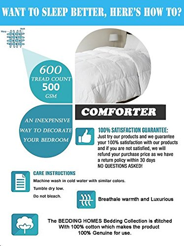 100% Organic Cotton 500 GSM Box Stitched Comforter 600 TC GOTS Certified Luxury Goose Down Light-Weight Italian Finish Quilt Cozy Ultra-Soft Fluffy by Bedding Homes(Full/Queen, Sage) by Bedding Homes (Image #5)