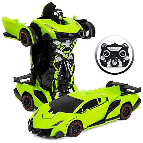 Park10 Toys Transforming RC Remote Control Robot Drifting Sports Race Car Toy w/ Sounds, LED Lights (Green)