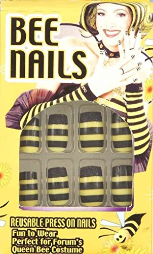 Bumble Queen Bee Nails Stick On 12 Black Yellow Halloween Costume Accessory New - http://coolthings.us