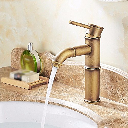 AWXJX Sink Taps Wash your facePots copper Single hole Heightening ceramics Brushed Seated Hot and cold Bamboo section