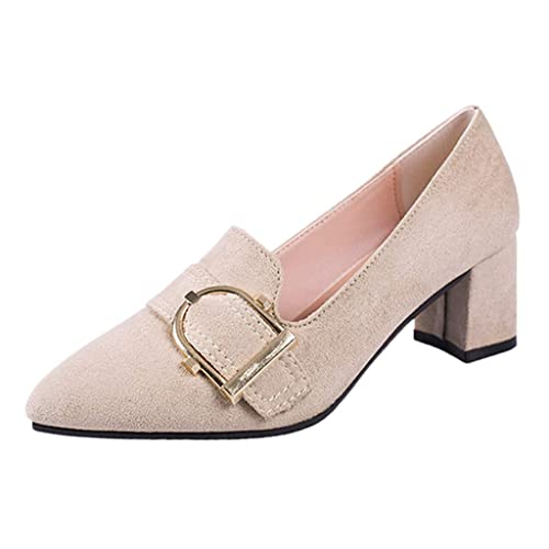 Esmerilado Tacón Zapatos Sin Medio Cordones De Sólido Mujeres PBwUZFqq
