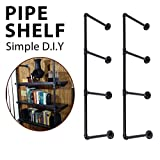 KINGSO Industrial Retro Wall Mount Iron Pipe Shelf Hung Bracket Diy Storage Shelving Bookshelf Black 2PCS