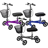 Isokinetics Inc. Steerable Knee Scooter Walker - Silver - Deluxe - w/Most Sought Features---a Removable Basket, Non-Scuff Wheels, Locking Brakes---and one just for fun---a Bell