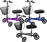 Isokinetics Inc. Steerable Knee Scooter Walker- Blue - Deluxe - w/Most Sought Features---a Removable Basket, Non-Scuff Wheels, Locking Brakes---and one just for fun---a Bell