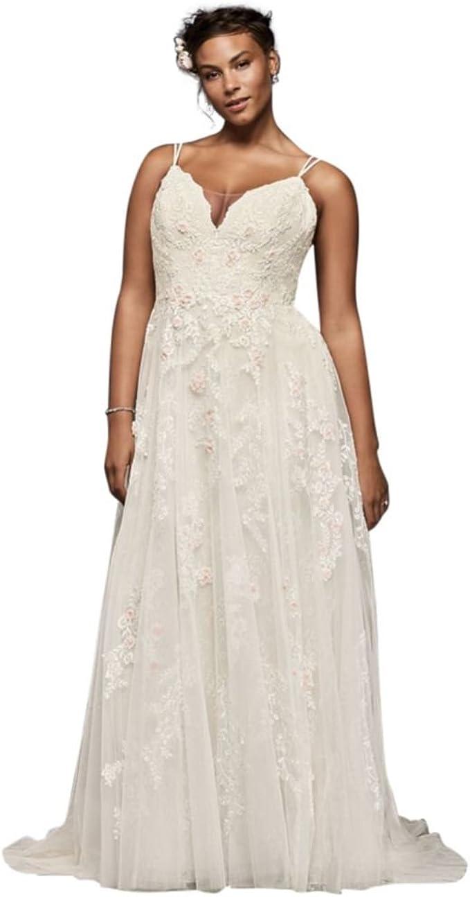 David S Bridal Scalloped A Line Plus Size Wedding Dress Style