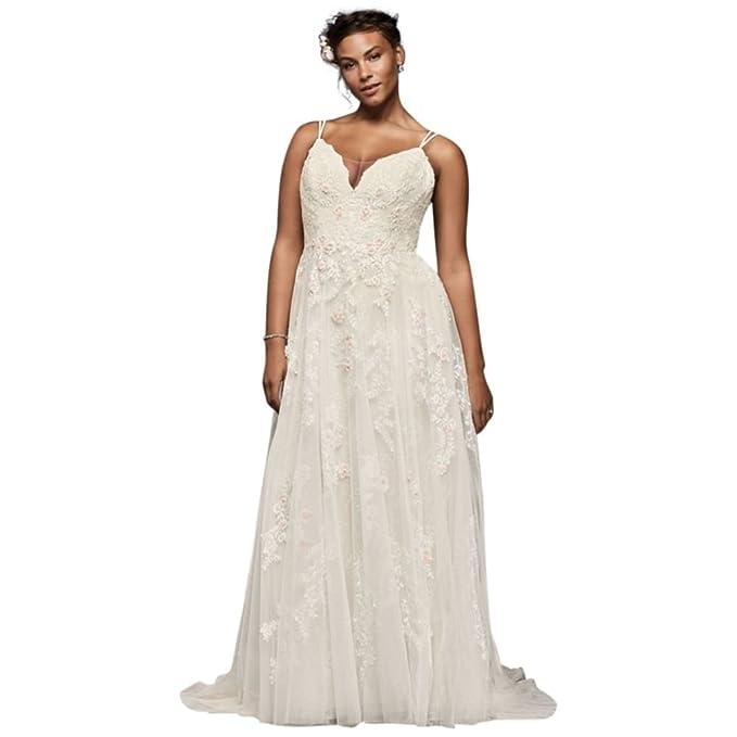 David\'s Bridal Scalloped A-Line Plus Size Wedding Dress ...