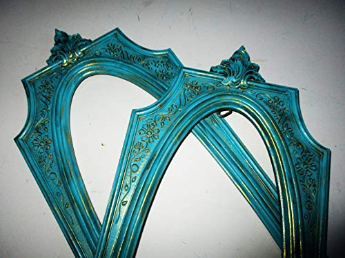 - LARGE FRAMES ONLY, Up Cycled Distressed Picture Frames (no backs, no fronts), Teal and Gold, Baroque, French, SYROCO, Wall Gallery, Wall Decor, Frames Set, Frame Collection