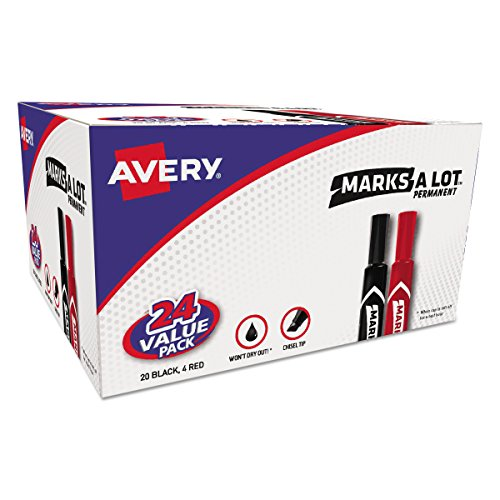 - Avery Marks-A-Lot Permanent Markers, Regular Desk-Style Size, Chisel Tip, 24 Assorted Markers (98187)