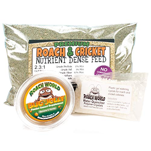 (Roach Chow for Dubia & Crickets with Super Foods Bundle - .5 lb Dry Chow - Insect Water Crystals - 1 Bug Jelly (Honey Banana))