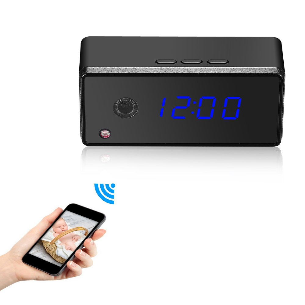 Mofek 720P FullHD WIFI Security Camera Alarm Clock Motion Detection/ Night Vision/ Wide Angle Lens - Support iPhone IOS, Android Phone Remote View