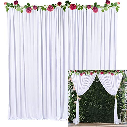 White Backdrop Curtain Photo Drape Backdrop for Weddings Baby Shower Birthday Party Engagement Photography with Golden Curtain Tiebacks 5ft x 10ft (Pack of Two) (Wedding Backdrop Drapes)