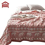 EAVD Retro Style Ethical Printing Quilt 60 Yarn Count Washed Cotton Jacquard Bedspread Elephant Orange Blanket Twin(59inchx79inch)