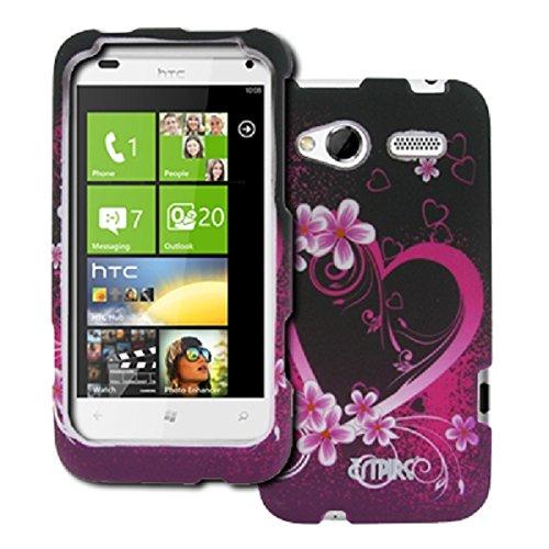 EMPIRE HTC Radar 4G Purple Hearts with Flowers Gummierte Design Harte Case Tasche Hülle Cover
