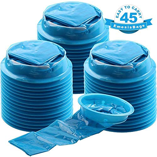 Emesis Bags 45 Pack, YGDZ Blue Vomit Bags, Barf Bags Disposable Aircraft & Car Sickness Bags, Nausea Bags for Travel Motion Hospital, ()