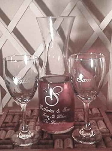 Unity Wine Ceremony Decanter with White Wine Glasses