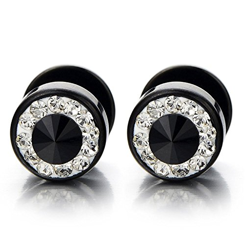 8mm Mens Black Stud Earrings Stainless Steel Illusion Tunnel Plug Screw Back with Cubic Zirconia, 2pcs (Zirconia Steel Cubic Screw)