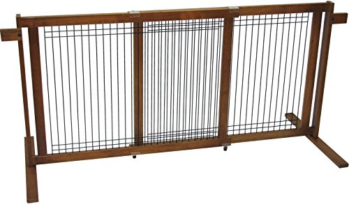 Crown Pet Products 29.4-Inch High Tall Extra Wide Free Standing Wooden Pet Gate, Fits Openings 40″ to 74.5″ Wide, Chestnut Brown