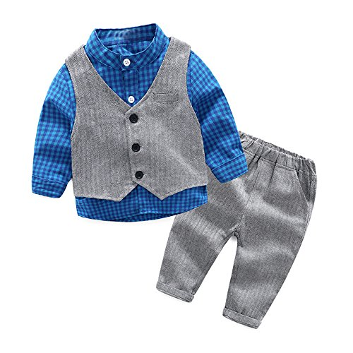Cute Outfits For Parties (Top and Top Baby Boy Clothes Toddler Outfit 3PCS Children Clothing Set with Vest + Pants (90/12-18 Months, Blue))