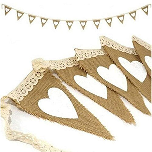 OZXCHIXU(TM) Vintage Heart Jute Burlap Bunting Banner Hessian Flag for Wedding Party Decoration White Lace 2.5m]()