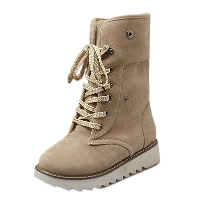 7287599895ce JOYTO Femme Bottes de Neige Hiver Fourrées Plate Cheville Chaude Haute Demi  Snow Boots Daim Bottines