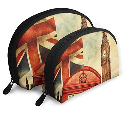 Makeup Bag London Red Phone Box Big Ben Portable Shell Pouch For Women Party 2 Pack
