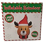 CHRISTMAS DECORATION LAWN YARD GARDEN INFLATABLE HOLIDAY REINDEER 3' TALL
