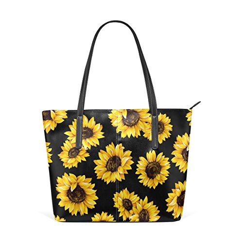 WOZO Yellow Sunflower Black PU Leather Shoulder Tote Bag Purse for Women Girls