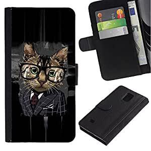LASTONE PHONE CASE / Lujo Billetera de Cuero Caso del tirón Titular de la tarjeta Flip Carcasa Funda para Samsung Galaxy Note 4 SM-N910 / Office Business Glasses Cat