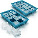 iGadgitz Home Silicone Ice Cube Tray 15 Square Food Grade Ice Cube Moulds - Pack of 2