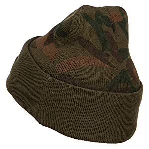E4hats US Navy Seabee Veteran Military Embroidered Camo Knit Long Beanie