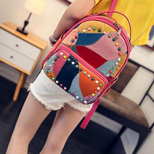 Clode® mujeres empalme del remache bolso de Mensajero de cuero mochila escuela viajes Bolsa Rojo