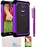 Llamamia LG G2 Case Hybrid TUFF Rugged Shockproof Rubber + Hard Case Cover For LG G2 Plus Stylus Pen Cleaning Cloth